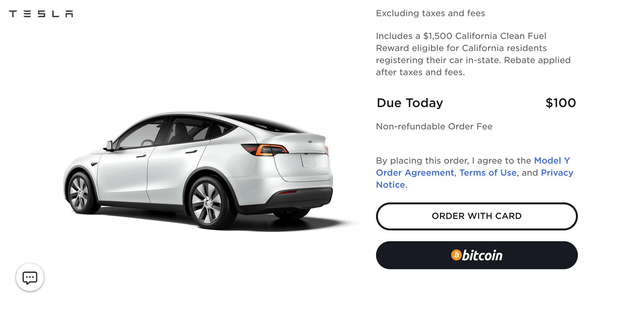 特斯拉開始接受比特幣付款訂購車輛