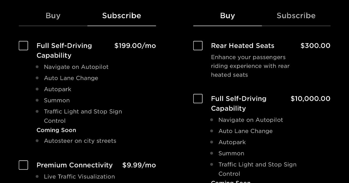 特斯拉 FSD 訂閱服務正式上線 每月 99 美元起